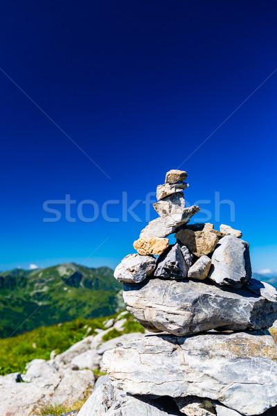 Góry krajobraz widoku kamienie równowagi Zdjęcia stock © blasbike