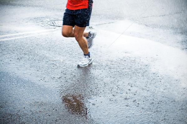 Zdjęcia stock: Maraton · runner · deszcz · ulicy · miasta · uruchomiony · prysznic