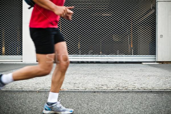 Stockfoto: Mensen · lopen · stad · marathon · straat
