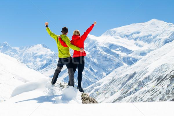 Stockfoto: Wandelen · succes · vrouw · winter · bergen · fitness