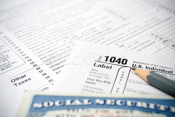 Tax forms and Social Security Card Stock photo © blasbike