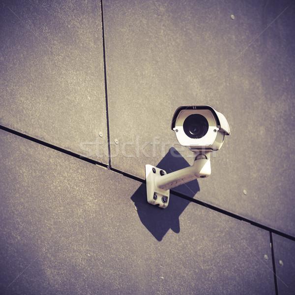Câmera de segurança cinza prédio comercial parede branco segurança Foto stock © blasbike