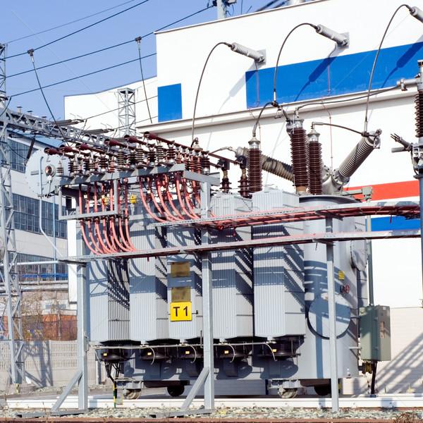 Elektrownia transformator koła budynku niebieski Zdjęcia stock © blasbike