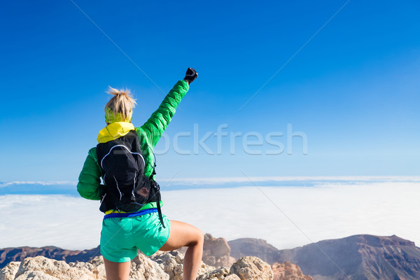 Woman hiking success arms outstretched on mountain top Stock photo © blasbike