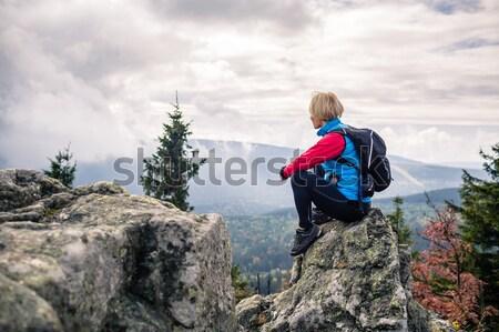 Vrouw wandelen najaar bergen bos vieren Stockfoto © blasbike