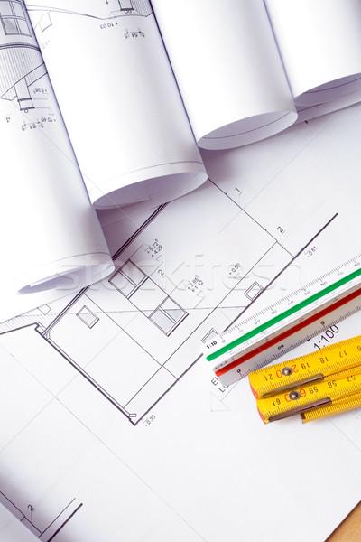 Foto stock: Blueprints · planos · habitação · projeto · negócio · escritório
