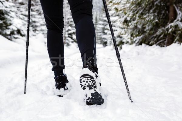 Backpacker hiking walking in winter forest on snow Stock photo © blasbike