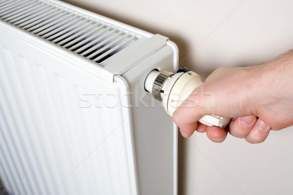 Termosztát beállítás kéz radiátor hőmérséklet ház Stock fotó © blasbike