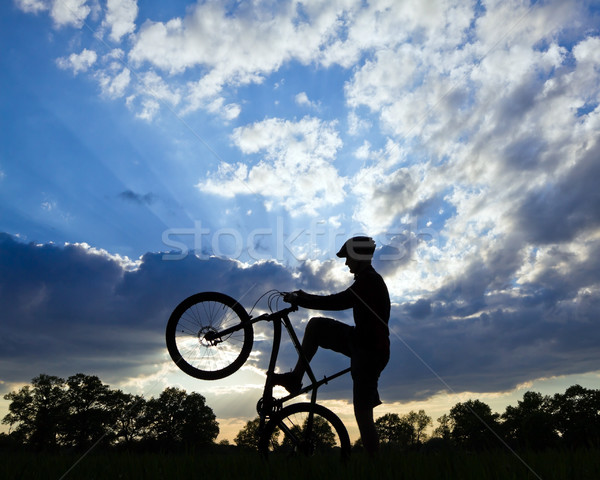 Cycling silhouette Stock photo © blasbike