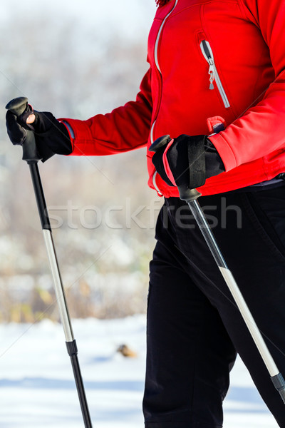Woman nordic walking in winter, outdoor sport and fitness, healt Stock photo © blasbike