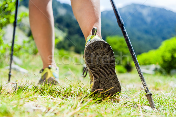 Nordic walking legs in mountains Stock photo © blasbike