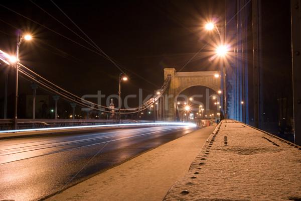 Puente colgante noche Polonia nieve metal puente Foto stock © blasbike