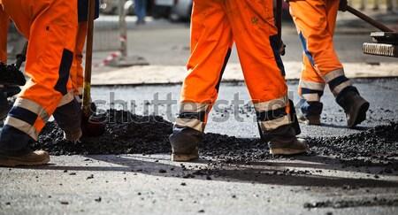 Yol yapımı takım çalışması işçiler sanayi Bina inşaat Stok fotoğraf © blasbike