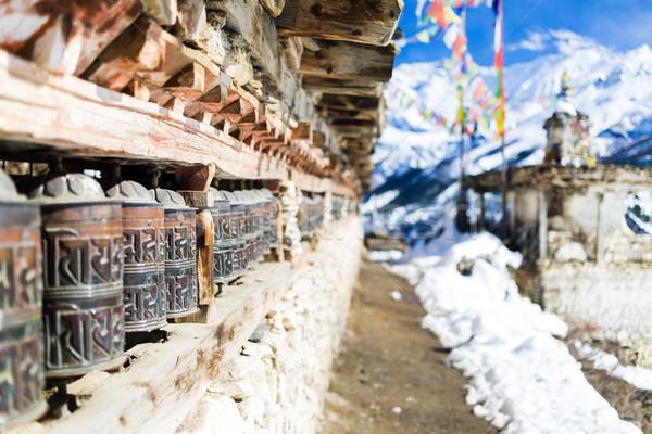 Stockfoto: Gebed · wielen · hoog · bergen · Nepal
