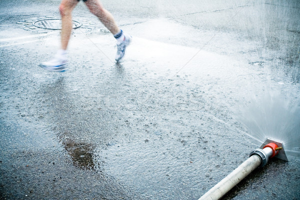 マラソン ランナー 街 男 を実行して 市 ストックフォト © blasbike