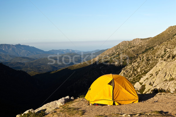 Camping tenda montagna Foto d'archivio © blasbike