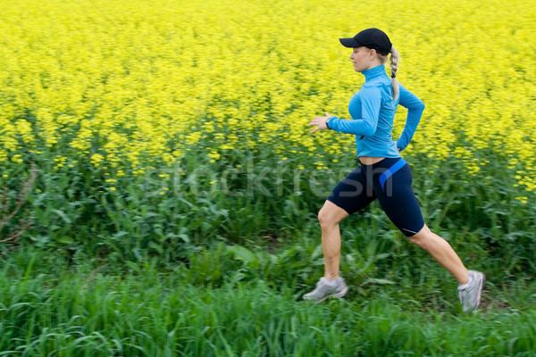 Woman running outdoors, fitness and exercise motion blur Stock photo © blasbike