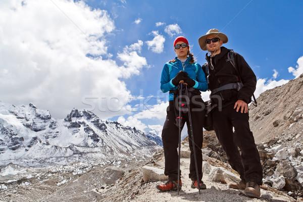 Couple Hiking in Himalaya Mountains Stock photo © blasbike