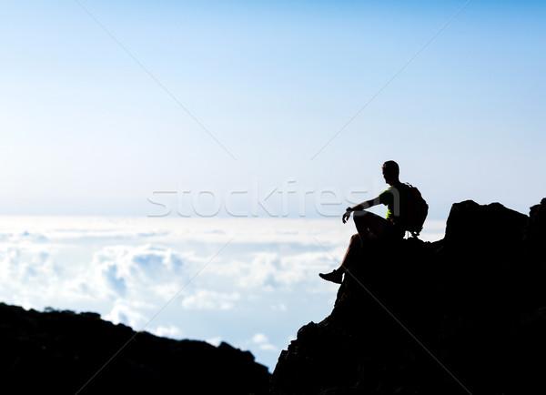 Wandelen silhouet backpacker man parcours runner Stockfoto © blasbike