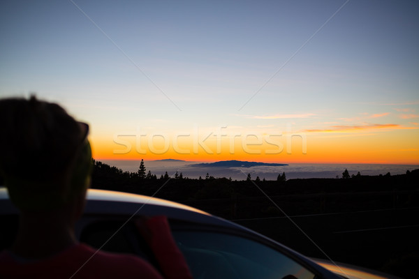 Woman looking at inspirational landscape ocean view Stock photo © blasbike