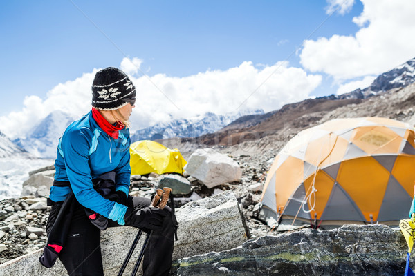 Woman hiker in Everest base camp Stock photo © blasbike