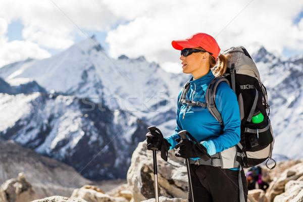 Donna escursioni himalaya montagna escursionista Foto d'archivio © blasbike