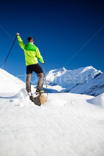 Adam yürüyüş dağlar Nepal uzun yürüyüşe çıkan kimse Stok fotoğraf © blasbike