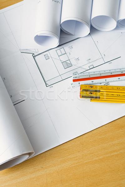 Mérnöki tervrajzok tervek építész lakásügy projekt Stock fotó © blasbike