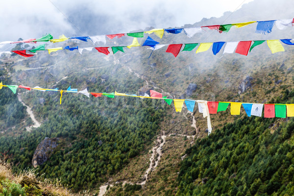 Nepal and and tibetan prayer flags in mountains Stock photo © blasbike