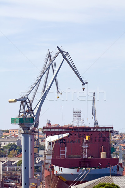 Stockfoto: Vrachtschip · haven · lege · industriële · dienst · verkeer