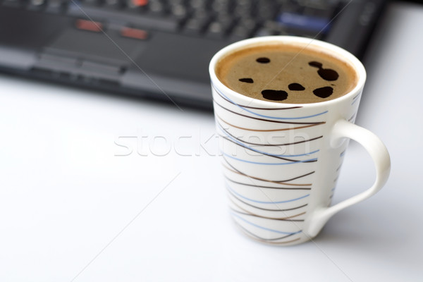 Koffie rem kantoor laptop bureau beker Stockfoto © blasbike