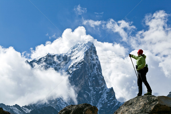 Stockfoto: Wandelen · bergen · jonge · vrouw · Nepal · sport