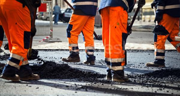 Road construction, teamwork Stock photo © blasbike