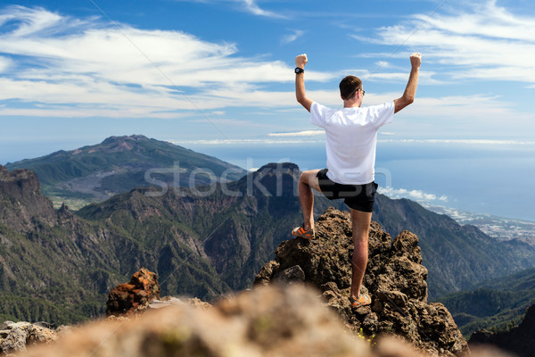 Trail runner success, man running in mountains Stock photo © blasbike