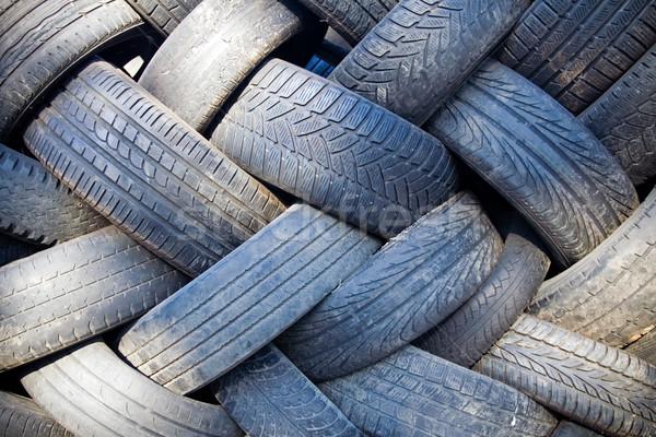 Autógumi újrahasznosítás szeméttelep halom öreg autógumik Stock fotó © blasbike