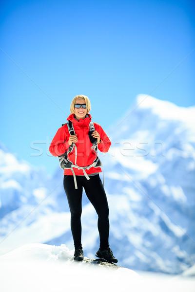 Hiking woman portrait on mountain peak Stock photo © blasbike