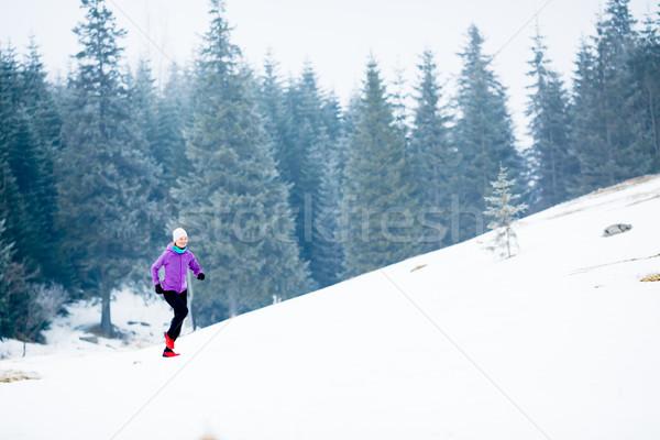 冬天 運行 女子 慢跑 靈感 動機 商業照片 © blasbike