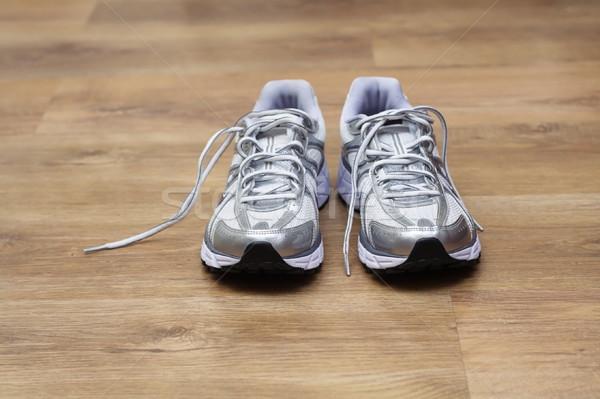 ストックフォト: スポーツ · 靴 · ジム · 新しい · 準備 · トレーニング