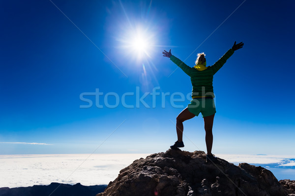 Woman climbing success silhouette on mountain top Stock photo © blasbike