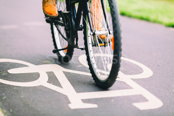 Mensen fietsen fiets woon-werkverkeer stad teken Stockfoto © blasbike
