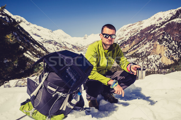 Man camping and hiking in Himalaya Mountain pass in Nepal Stock photo © blasbike