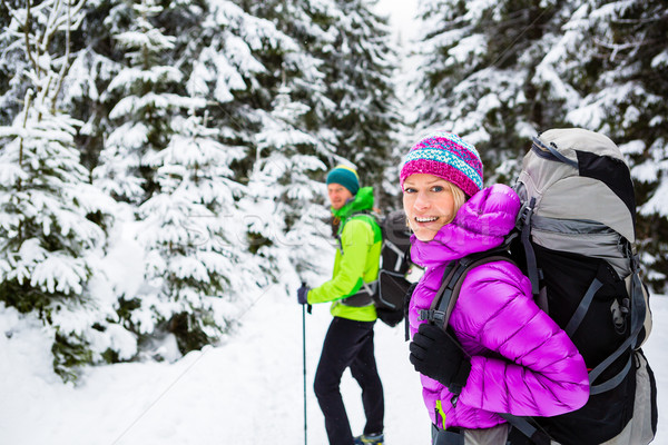 Couple hikers trekking in winter woods Stock photo © blasbike