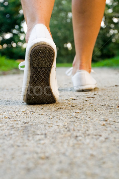 Stock photo: Walking woman in park