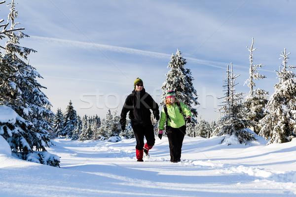 Сток-фото: пару · походов · снега · зима · гор · человека