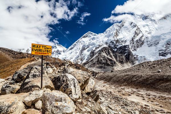 Everest Dağı tabelasını kamp himalayalar Nepal buzul Stok fotoğraf © blasbike