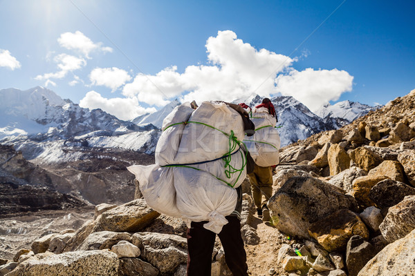 People walking trail in Himalaya Mountains Stock photo © blasbike