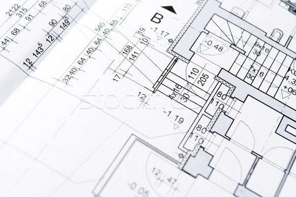 Blauwdrukken huisvesting project textuur papier bouw Stockfoto © blasbike