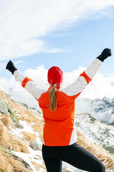 Caminhadas sucesso mulher inverno montanhas brasão Foto stock © blasbike