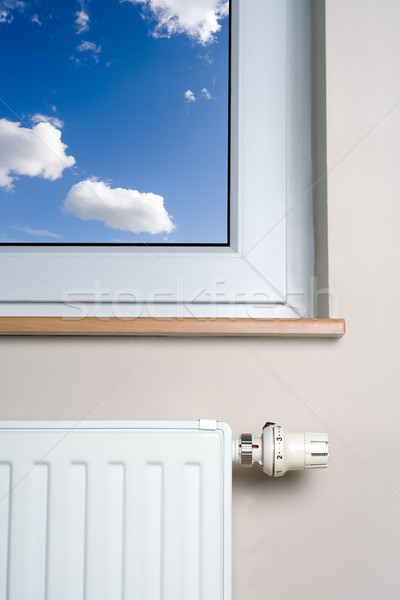 Radiator and blue sky in home interior Stock photo © blasbike
