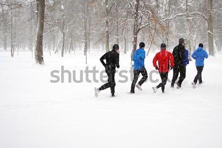 Insanlar çalışma kış park spor Stok fotoğraf © blasbike